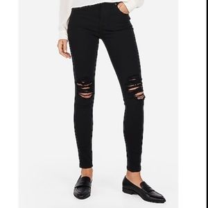 Express Black High Waisted Ripped Jean Leggings
